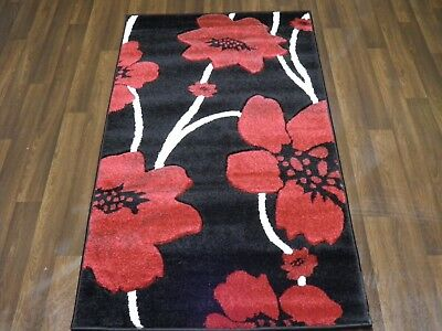 Top Quality New 80x150cm Aprox 5x3ft Woven Rugs/mats Hand Carved Poppy Black/red • 32.99£