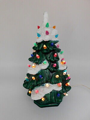 $ CDN63.07 • Buy  Vintage 11  Ceramic Lighted  Snow Tipped  Christmas Tree