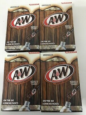 4 Boxes A&W Root Beer Water Drink Mix Singles To Go 24 Total Packets Sugar Free • 10.09£