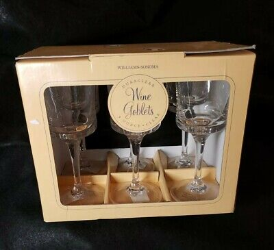 $29.90 • Buy Set Of 6 Williams Sonoma Duraclear 9 Oz Wine Goblets. Durable Clear Glasses. NIP