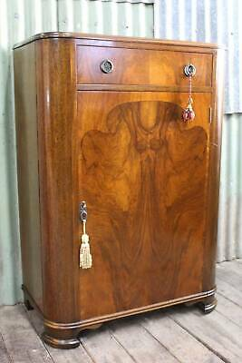 AU695 • Buy An Art Deco Gentlemans Wardrobe Flame Mahogany *FREE DELIVERY *T&C's