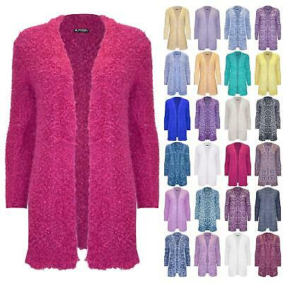 Womens Ladies Chunky Fluffy Knitted Long Sleeve Jumper Oversized Open Cardigan • 3.49£