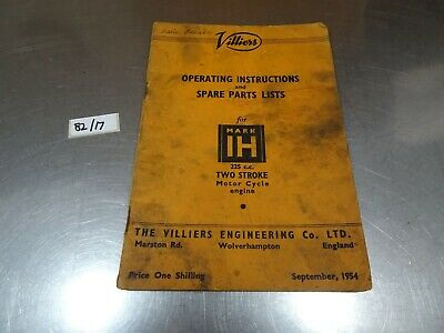 Vintage Villiers 225 Engine 1h Instruction And Spare Parts List Book Catalogue  • 11.99£
