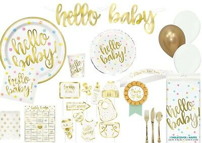Hello Baby Shower Gold Foil Stamped Balloons Tableware Supplies Decorations • 2.49£