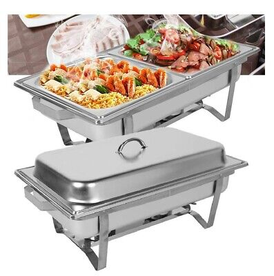 £49.95 • Buy 1-2  Chafing Dish Sets Rectangle Food Warmers 9.5L SINGLE / Double  COMPARTMENT