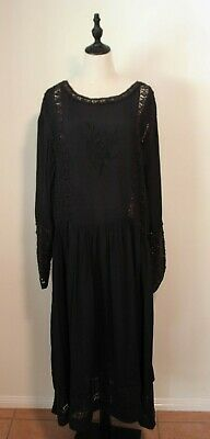 AU75 • Buy ASOS CURVE ~ Black Long Viscose Crocheted Lace Victorian Goth Inspired Dress 22
