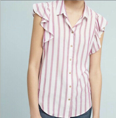 $ CDN43.11 • Buy Anthropologie MAEVE Fairhope Striped Button Down Ruffle Sleeve Blouse Top Large