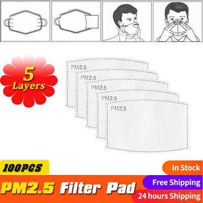 $ CDN32.99 • Buy 100PCS 5 Layers Filter Pads PM2.5 Breathable Face Mask Insert Gasket Replacement
