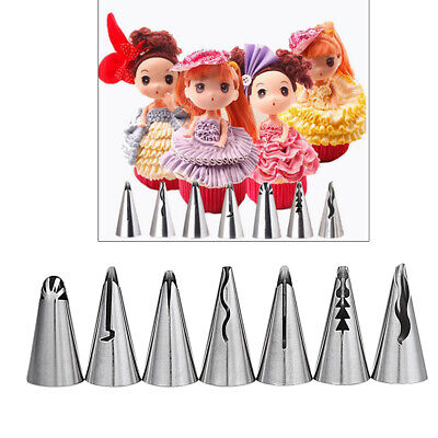 7pcs Russian Icing Piping Nozzles Tips Pastry Cake Decorating DIY Baking Tool • 5.26£