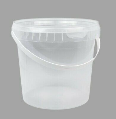 £69 • Buy 72 Clear Food Grade Plastic Buckets & Lid Handle Storage Container (2.3 Litres)