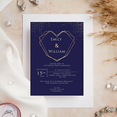 £6.99 • Buy 10 Wedding Invitations Day/Evening Navy With Gold Heart And Glitter Sparkle