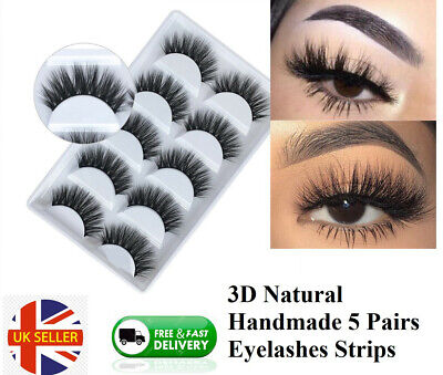 5 Pairs Handmde 3D Mink Natural Soft Black Eyelashes Long Thick Fake Eye Lashes • 3.89£