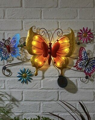 Solar LED Butterfly Wall Art Decorative Garden Ornaments Indoor / Outdoor Light • 29.99£