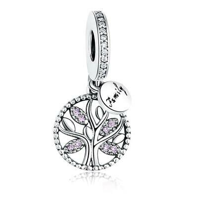 AU27 • Buy Family Tree Pink S925 Sterling Silver Charm Pendant By Charm Heaven