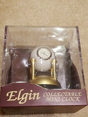 Elgin Golf Ball On Golden Tees Collectable Mini Clock, New In Display Box • 10.69£
