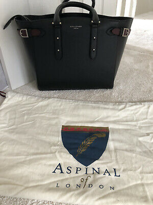 Genuine Aspinal Of London Marylebone Black Large Leather Tote Bag  • 220£