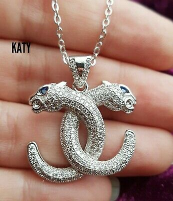 Bling Iced Out Orb Safety Pin Diamante Pendant Silver Chain Necklace Gift UK • 7.20£