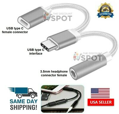 $4.49 • Buy 2 In1 Type-C USB C To 3.5mm AUX Audio Headphone Jack Adapter Charger Cable New S
