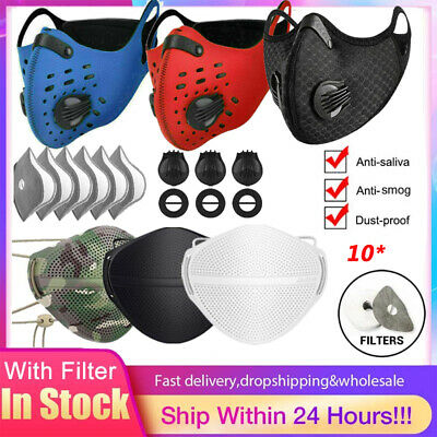 $ CDN11.02 • Buy Reusable Face Mask Mouth Cover Breathable Valve 10PCS Carbon Filter Pad Outdoor