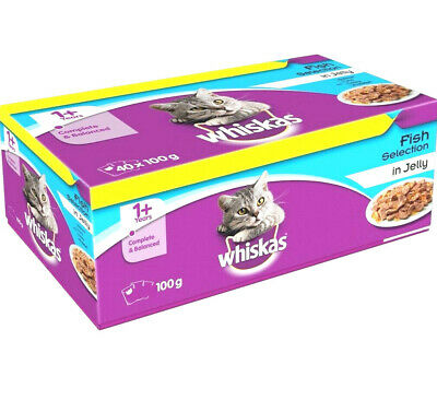 WHISKAS FISH POUCHES : 12pk Or 40pk Complete Adult 1+ Jelly Wet Cat Food Bp Meal • 7.99£