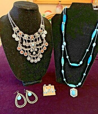 $ CDN31.64 • Buy 5 Piece Lot Of Costume Jewelry Faux Turquoise
