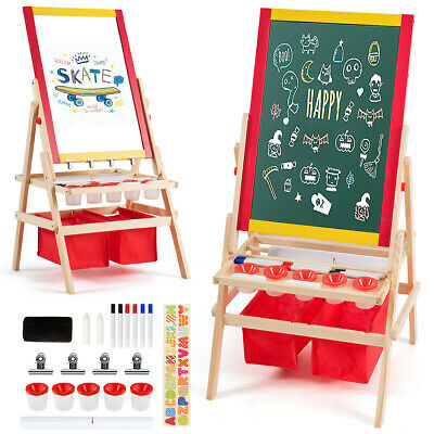 3 IN 1 Kids Art Easel Double Sided Magnetic Chalk White Green Board Storage Bags • 44.99£