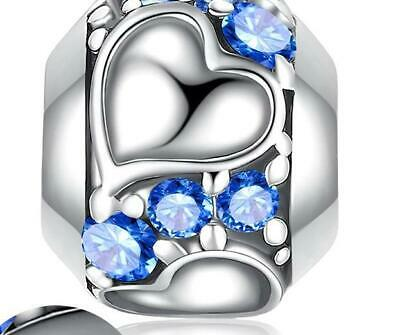 AU27.90 • Buy BLUE HEART BEAD S925 Sterling Silver Charm By Charm Heaven NEW