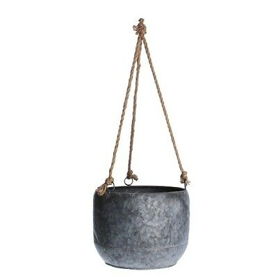 Galvanized Hanging Round Planter With Rope For Flowers By Gisela Graham • 25£