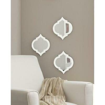 £15.75 • Buy Set Of 3 Melena Moroccan Mirrors Wall Hanging Mirrors Home Decor Modern - White