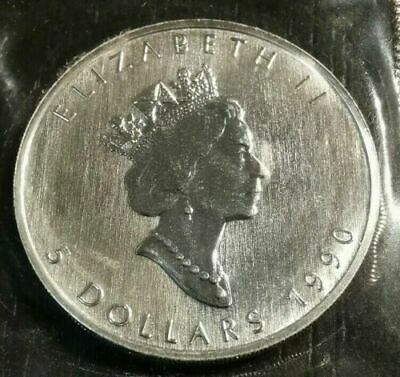 $ CDN42 • Buy 1990 Canadian $5 MAPLE LEAF 1 Oz .9999  Mint Fine Silver Coin