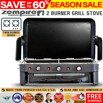 AU197.97 • Buy Deluxe 2 Burner Grill Stove Grill Camping Kitchen Cooking Portable Gas Outdoor