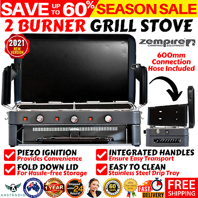 AU190.68 • Buy Deluxe 2 Burner Grill Stove Portable Gas Stove Kitchen Picnic BBQ Heating