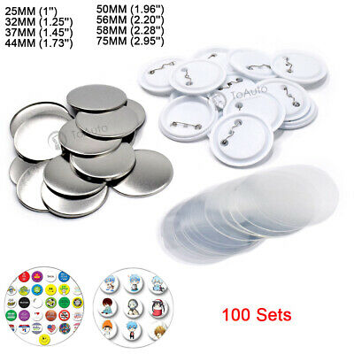 £28.59 • Buy 100 Sets Badge Supplies Parts 1''-2.95'' 25mm-75mm For DIY Button Maker Craft
