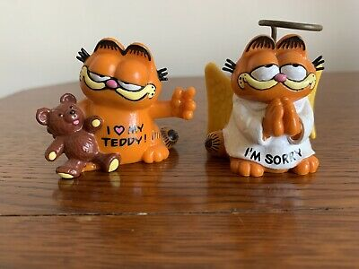 2x Garfield 1978 1981 PVC Figures - BULLY WEST GERMANY *SEE DESCRIPTION* • 8£