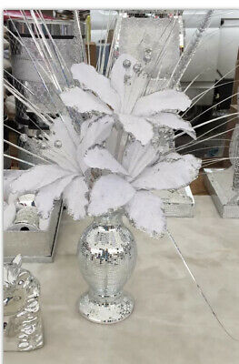 *LIMITED STOCK* Bling Mosaic Romany Mirror Shine 26cm Silver Vase With Flowers • 25£