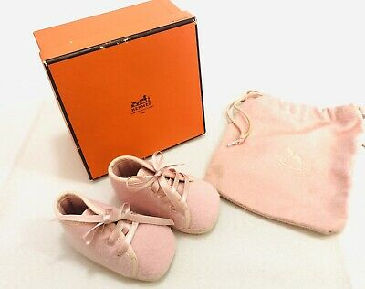 AU100 • Buy Authentic HERMES Baby Girl Infant Pink Lace Booties With Box & Dustbag - FRANCE