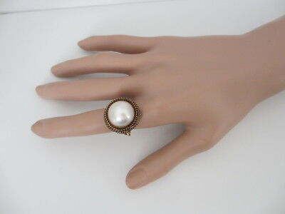 $395 • Buy Vintage Mabe Pearl 14k Solid Yellow Gold Ring Size 7.75 - 8.5 Grams