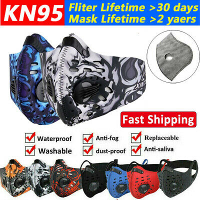 $ CDN8.99 • Buy Reusable Sport Face Mask Cover W/ Valves Activated Carbon Filter Pads Air Purify