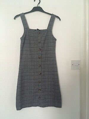 Girls New Look Black & White Checked Pinafore Dress Size 12-13 Years Used • 2.50£