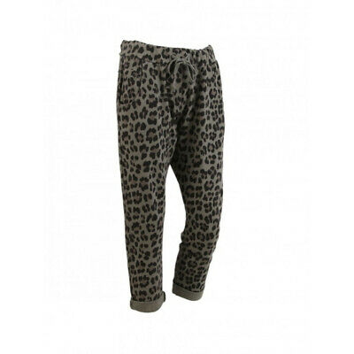 Womens Leopard Print Cotton Slouch Trousers | One Size (10-14) | Made In Italy • 19.99£