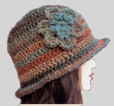 £10.99 • Buy LADIES WINTER CHUNKY CLOCHE HAT Brown Floral Warm Bucket Gatsby Woman's Beanie 6
