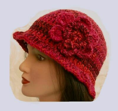 £10.99 • Buy LADIES WINTER CHUNKY CLOCHE HAT Red Floral Warm Bucket Gatsby Woman Beanie 14