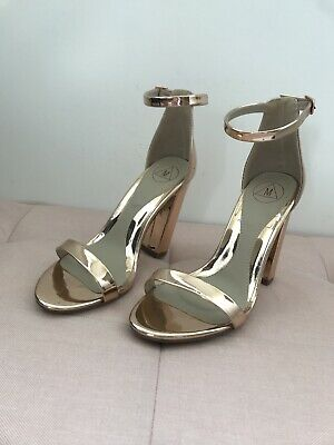 Missguided Rose Gold Block Heel Shoes Size 4 • 4.99£