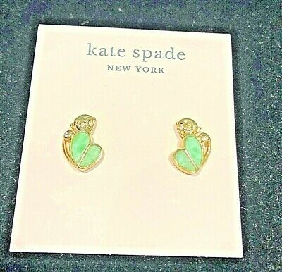 $ CDN41.27 • Buy Kate Spade Animal Party Gold Tone Green Accent Stud Earrings New WBRUH927