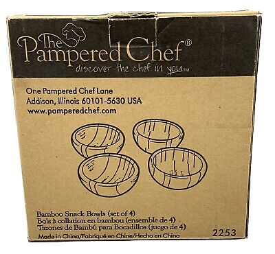$24.95 • Buy Pampered Chef Bamboo Petite Mini Snack Bowls Set Of 4, #2253
