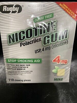 $ CDN36.12 • Buy RUGBY Mint 4MG Nicotine Gum Stop Smoking 110 Pieces EXP 04/2022 New