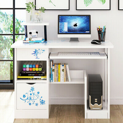 White Computer Desk PC Laptop Table Corner Study Shelve Gaming With Cabinet  • 65.99£