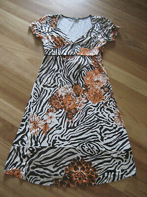 AU28 • Buy Ladies Cute Brown Multi Colour Short Sleeve Dress By Y London Size M 8/10