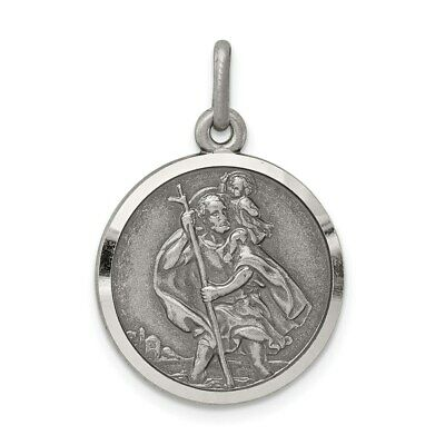 $24.90 • Buy Sterling Silver 925 St. Saint Christopher Round Medal Pendant 0.99 Inch