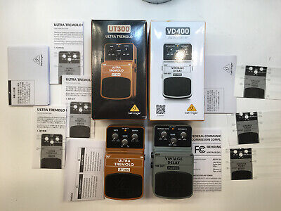 $ CDN111.53 • Buy Behringer UT300 Ultra Tremolo + VD300 Vintage Delay Guitar Effect Pedal Lot Of 2